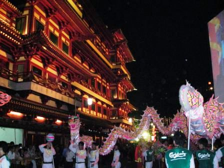 dragpon dance at the tooth relic temple opening in singapore