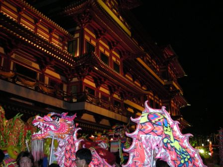 dragon dance at the singapore tooth relic temple opening