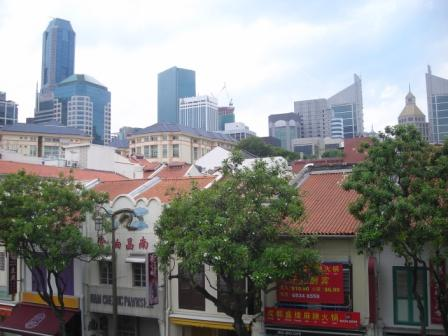 view of singapore chinatown from 8 treasure vegetarian restuarant