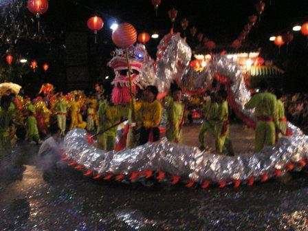 dragon dance in vitnam chinatown