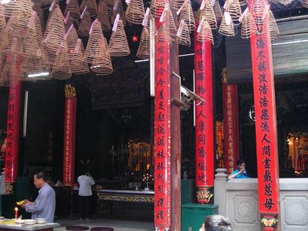 prayer hall of matsu temple in cholon vietnam chinatown