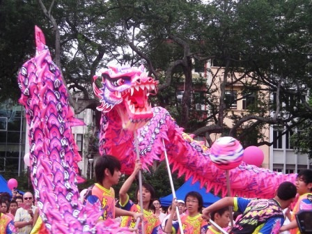 pink dot dragon dance