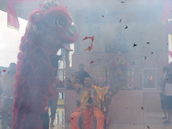 lion dance fire crackers spirit medium